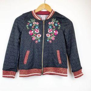 LITTLE LASS Floral Embroidered Black Jacket 7/8